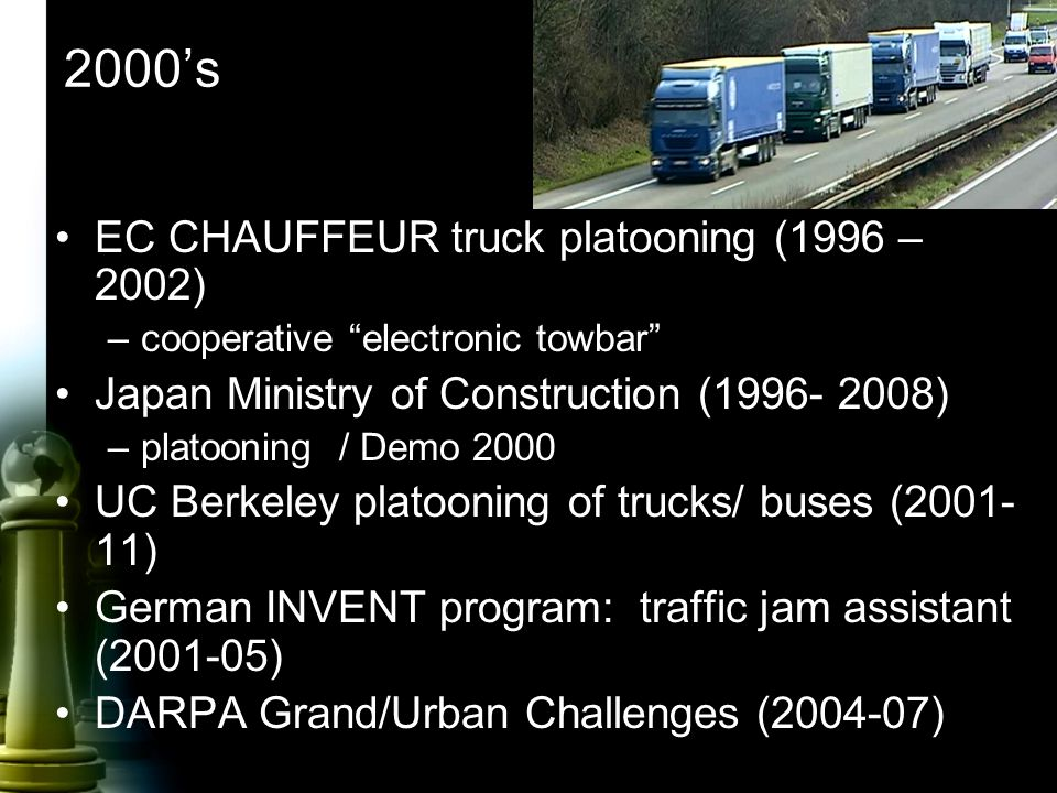 "2000's EC CHAUFFEUR truck platooning (1996 – 2002) –cooperative ""electronic towbar"" Japan Ministry of Construction (1996- 2008) –platooning / Demo 200"
