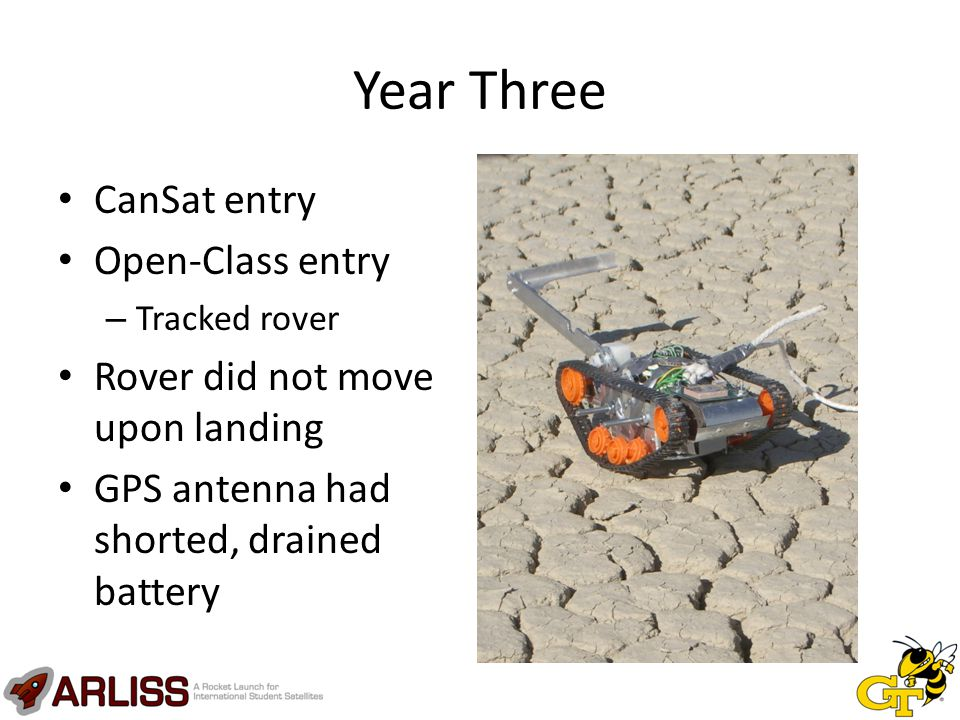 Year Three CanSat entry Open-Class entry – Tracked rover Rover did not move upon landing GPS antenna had shorted, drained battery