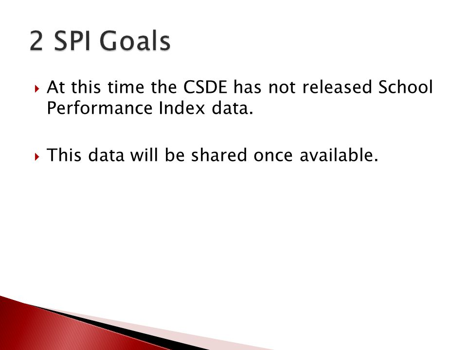  At this time the CSDE has not released School Performance Index data.