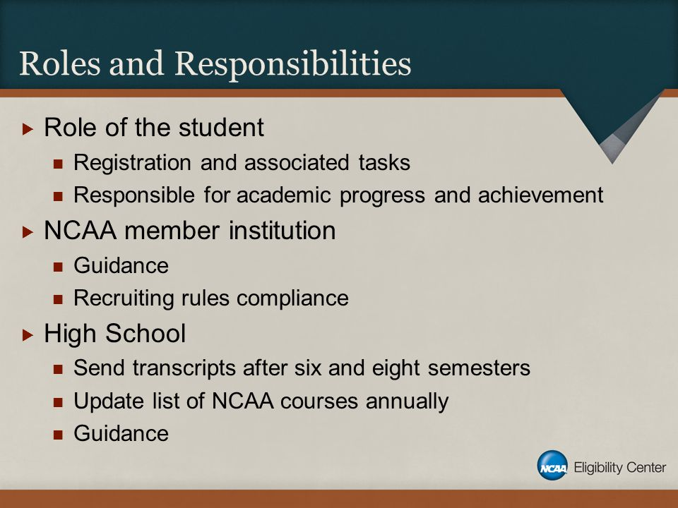 Roles and Responsibilities  Role of the student Registration and associated tasks Responsible for academic progress and achievement  NCAA member institution Guidance Recruiting rules compliance  High School Send transcripts after six and eight semesters Update list of NCAA courses annually Guidance