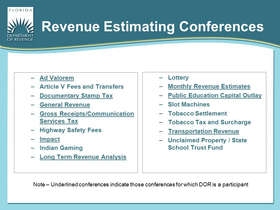 Revenue Estimating Conferences –Ad Valorem –Article V Fees and Transfers –Documentary Stamp Tax –General Revenue –Gross Receipts/Communication Service