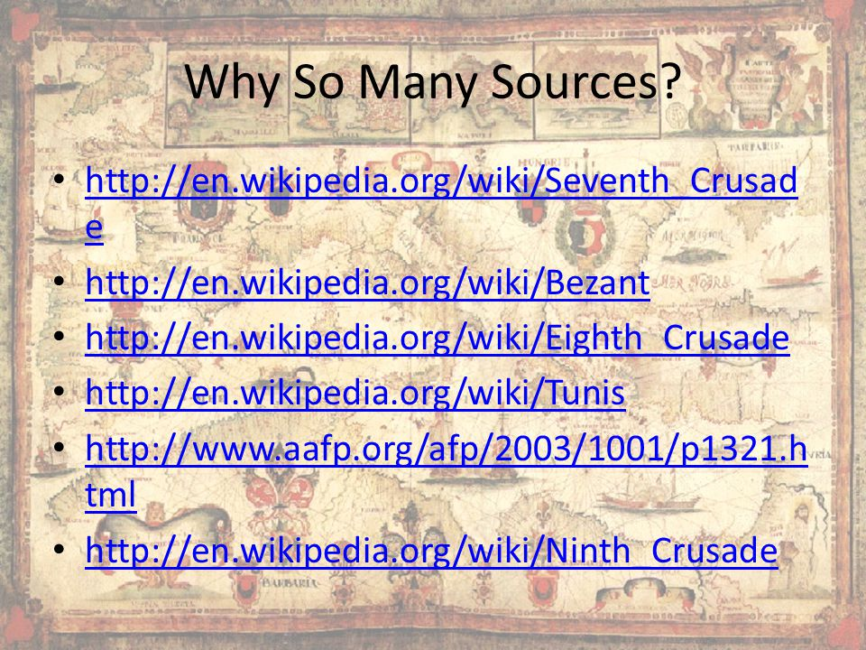 Why So Many Sources.
