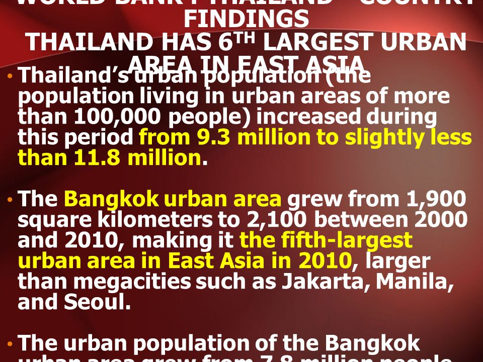 Thailand's urban population (the population living in urban areas of more than 100,000 people) increased during this period from 9.3 million to slightly less than 11.8 million.
