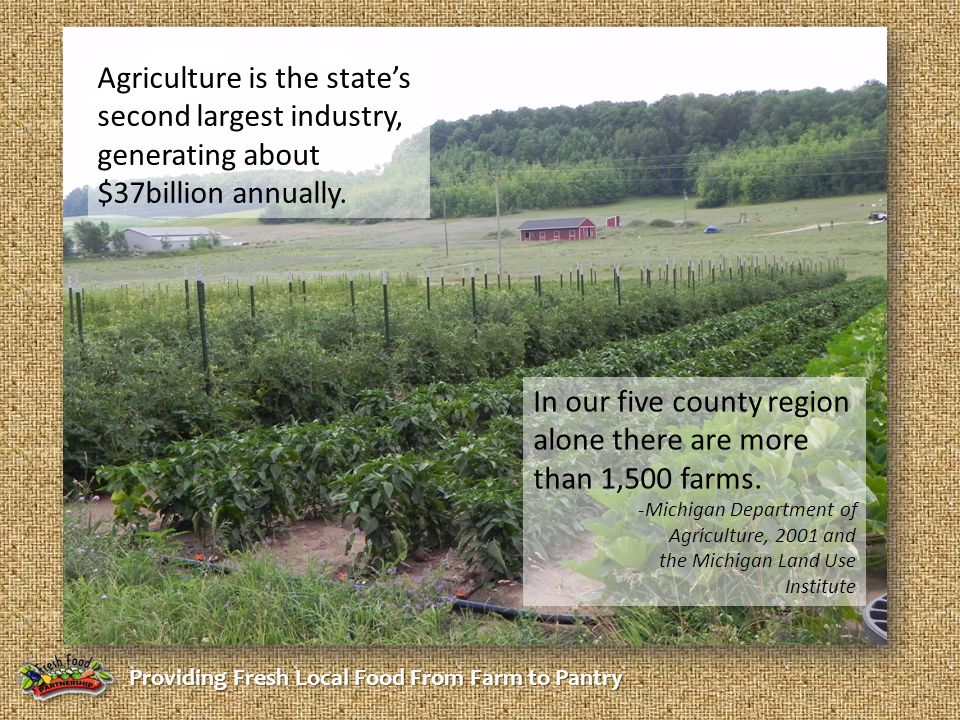 Providing Fresh Local Food From Farm to Pantry Agriculture is the state's second largest industry, generating about $37billion annually. In our five c