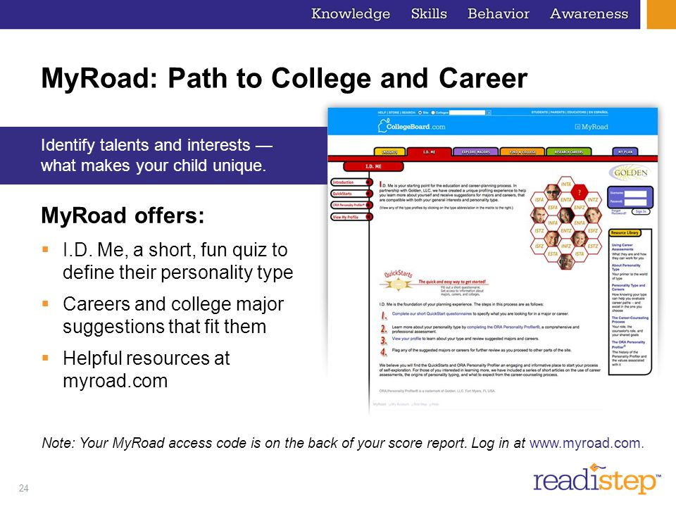 24 MyRoad: Path to College and Career MyRoad offers:  I.D.