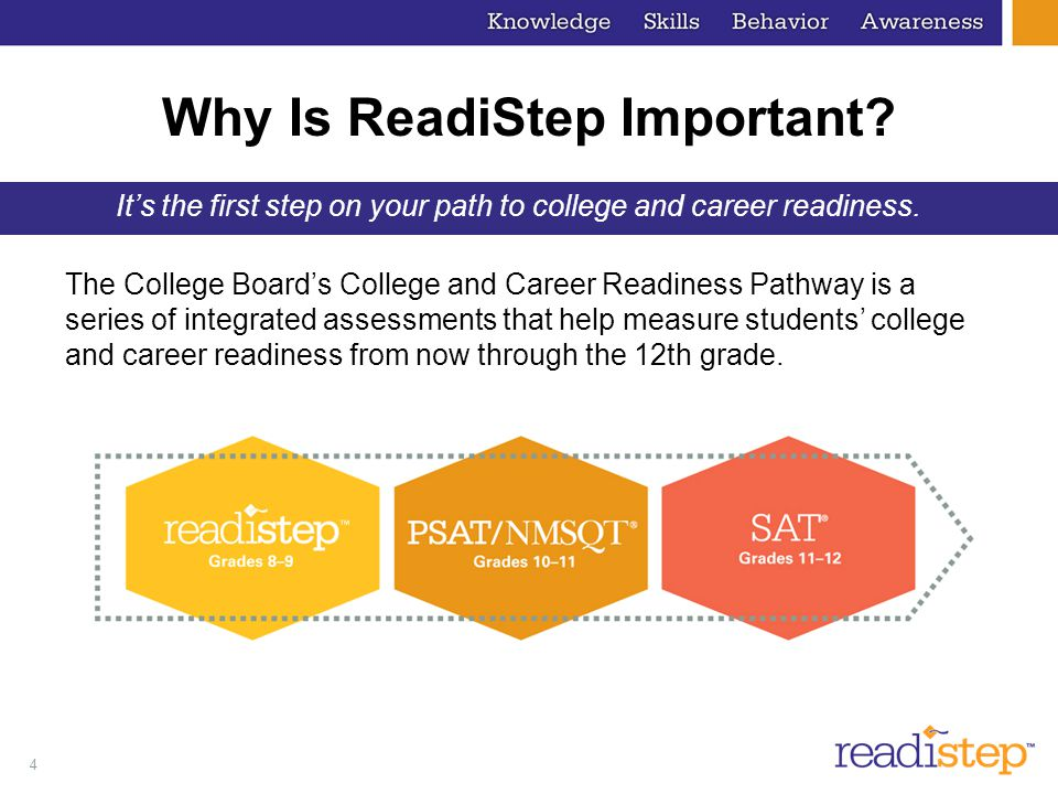 5 ReadiStep: Intervening Early — An assessment for eighth to ninth grades, providing early feedback to help students identify the skills they need to be college and career ready.