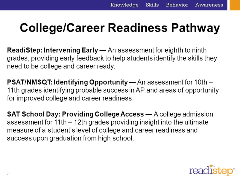 16 College and Career Readiness Benchmark  Benchmark for 8th Grade  Critical Reading - 3.8  Math - 3.7  Writing - 3.8  Composite Score - 11.8  *Composite score was computed independently of individual section scores
