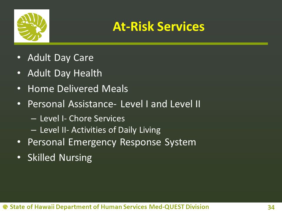 State of Hawaii Department of Human Services Med-QUEST Division At-Risk Services Adult Day Care Adult Day Health Home Delivered Meals Personal Assistance- Level I and Level II – Level I- Chore Services – Level II- Activities of Daily Living Personal Emergency Response System Skilled Nursing 34