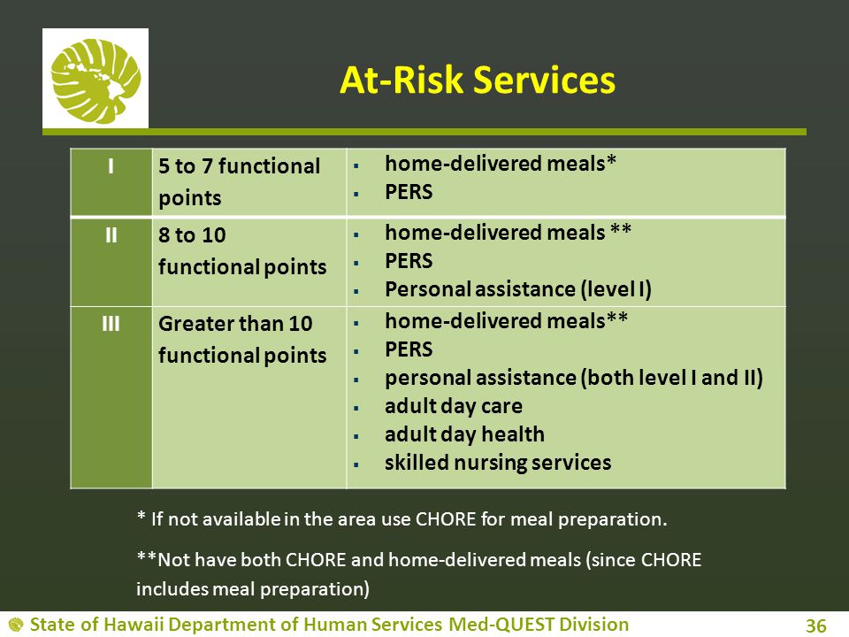 State of Hawaii Department of Human Services Med-QUEST Division At-Risk Services 36 I 5 to 7 functional points  home-delivered meals*  PERS II 8 to 10 functional points  home-delivered meals **  PERS  Personal assistance (level I) IIIGreater than 10 functional points  home-delivered meals**  PERS  personal assistance (both level I and II)  adult day care  adult day health  skilled nursing services * If not available in the area use CHORE for meal preparation.