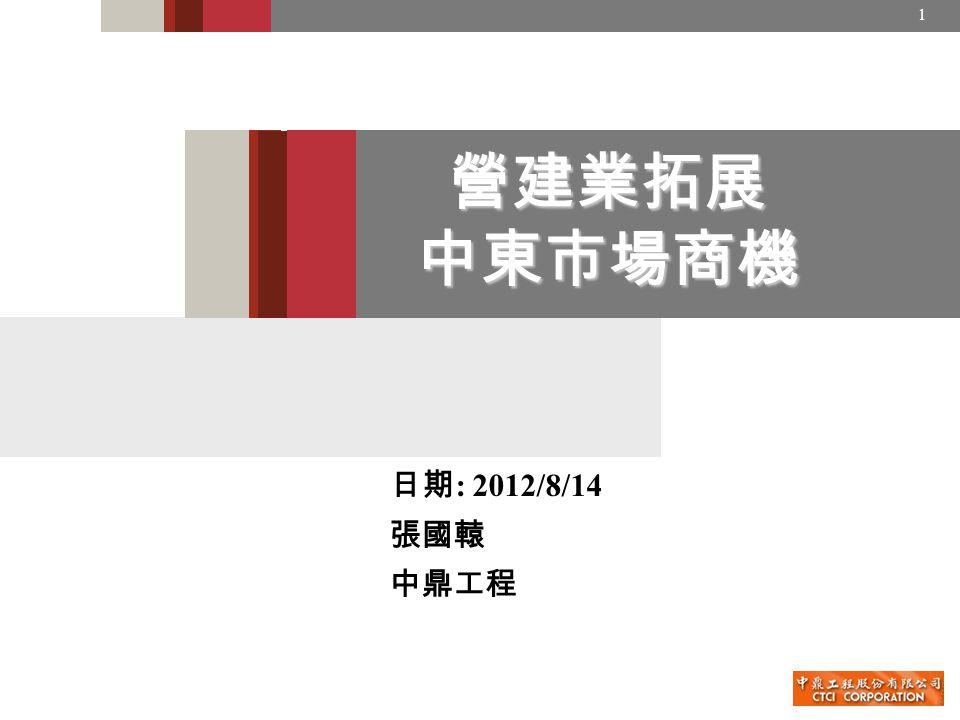 1 營建業拓展 中東市場商機 日期 : 2012/8/14 張國轅 中鼎工程