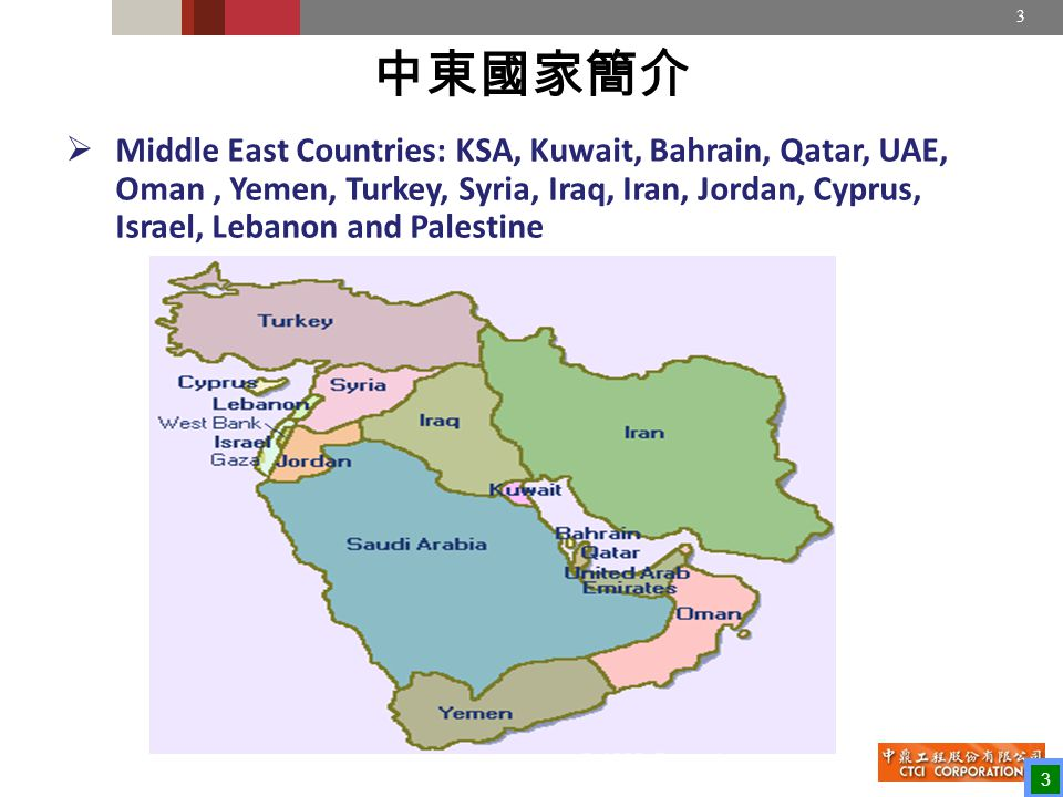 3 中東國家簡介  Middle East Countries: KSA, Kuwait, Bahrain, Qatar, UAE, Oman, Yemen, Turkey, Syria, Iraq, Iran, Jordan, Cyprus, Israel, Lebanon and Palestine 3