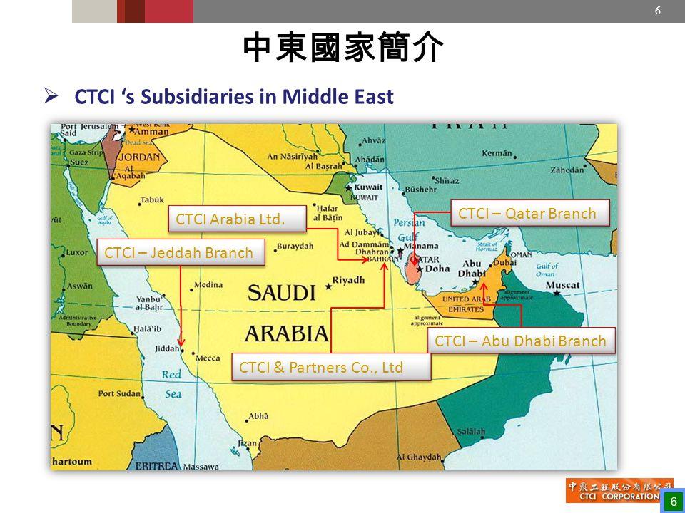6  CTCI 's Subsidiaries in Middle East 中東國家簡介 CTCI – Qatar Branch CTCI – Abu Dhabi Branch CTCI Arabia Ltd.