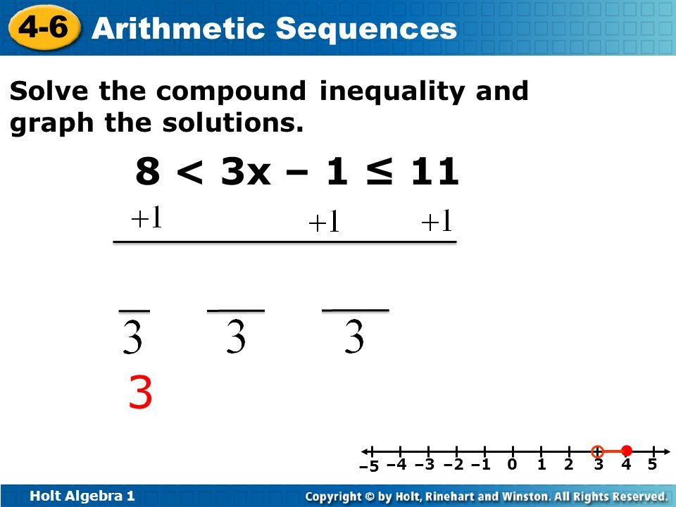 Holt Algebra 1 4-6 Arithmetic Sequences Solve the compound inequality and graph the solutions.