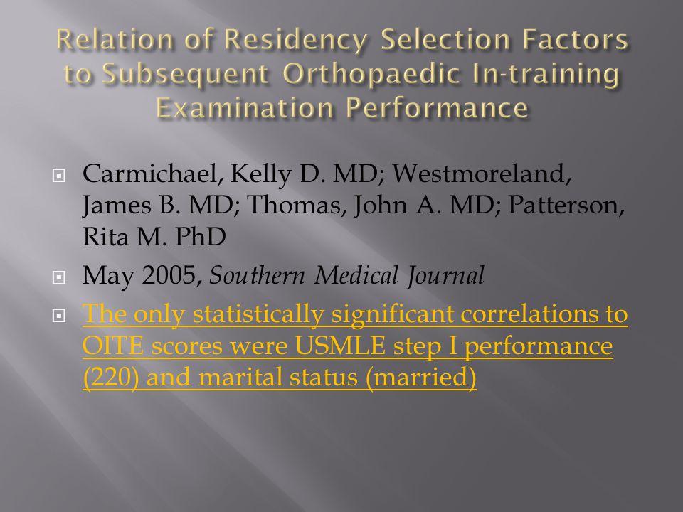 Survey/Score CategoryScore CategoryRSp - Value Surgical CompetencyOITE %tile YIT-10.155890.1464 Surgical CompetencyOITE %tile YIT-20.2811560.000382 Surgical CompetencyOITE %tile YIT-30.2591540.001167 Surgical CompetencyOITE %tile YIT-40.1311370.125677 Surgical CompetencyOITE %tile YIT-50.1921170.038341 Surgical CompetencyUSMLE Step 10.0531310.547163 Surgical CompetencyUSMLE Step 20.018530.900569 Surgical CompetencyABOS %tile0.39650.001321 The only objective score to correlate with surgical competency was ABOS I percentile (medium correlation)