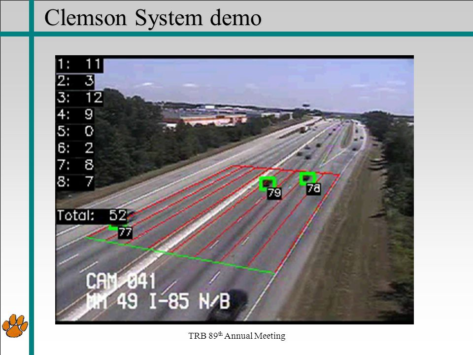 Clemson System demo TRB 89 th Annual Meeting