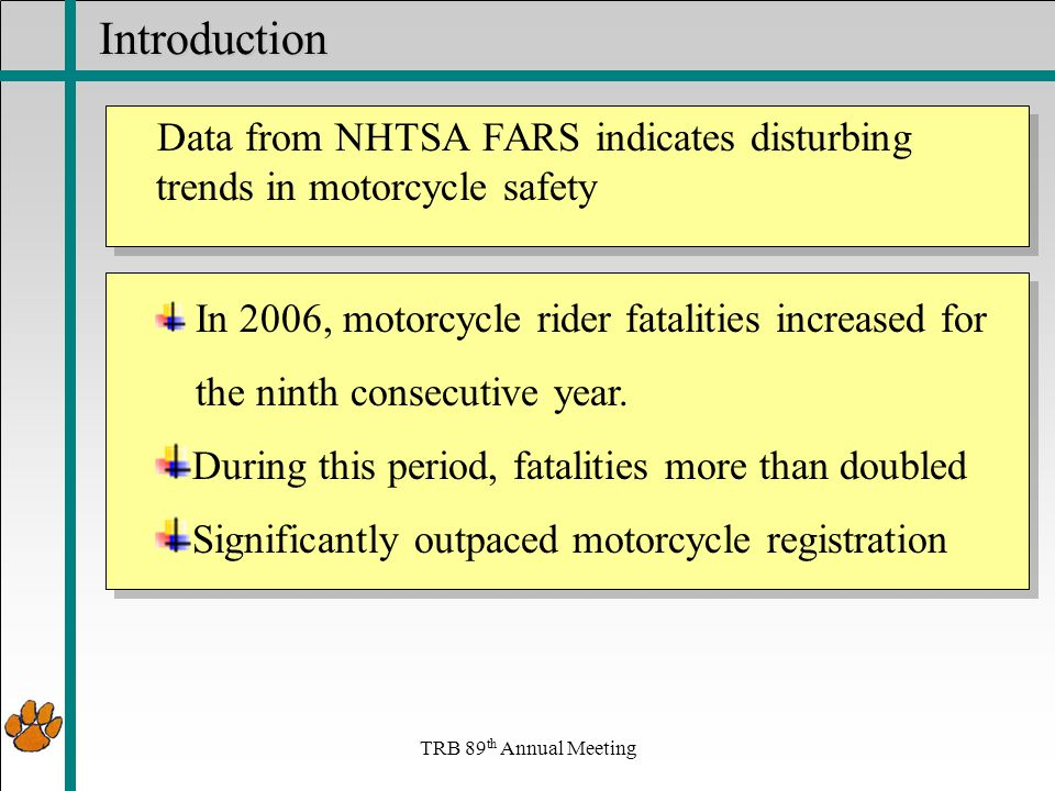 Traffic data collection and motorcycles In June 15, 2008 FHWA began requiring mandatory reporting of motorcycle travel as part of HPMS Need VMT data as well as crash data to assess motorcycle safety In September, 2008, an HPMS report indicated that the quality of MC data was questionable due to the inability and inconsistency of current traffic monitoring equipment.
