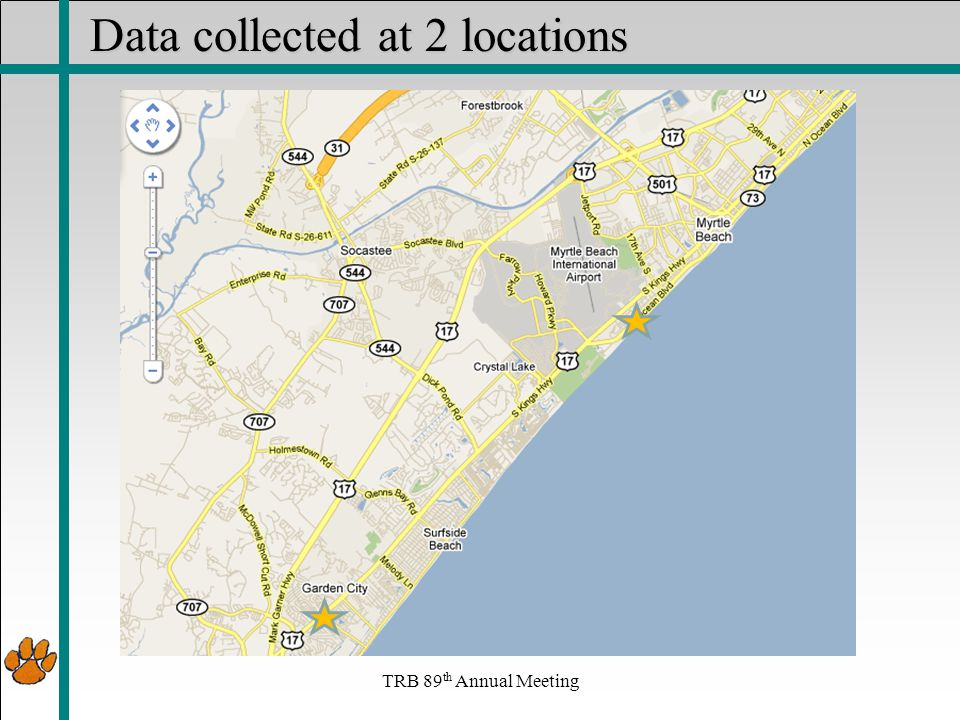 Data collected at 2 locations TRB 89 th Annual Meeting