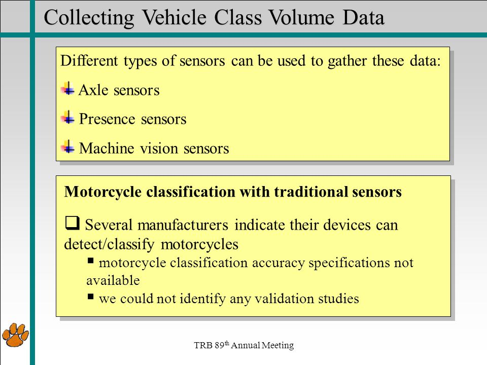 TRB 89 th Annual Meeting Collecting Vehicle Class Volume Data Different types of sensors can be used to gather these data: Axle sensors Presence sensors Machine vision sensors Different types of sensors can be used to gather these data: Axle sensors Presence sensors Machine vision sensors  Several manufacturers indicate their devices can detect/classify motorcycles  motorcycle classification accuracy specifications not available  we could not identify any validation studies Motorcycle classification with traditional sensors