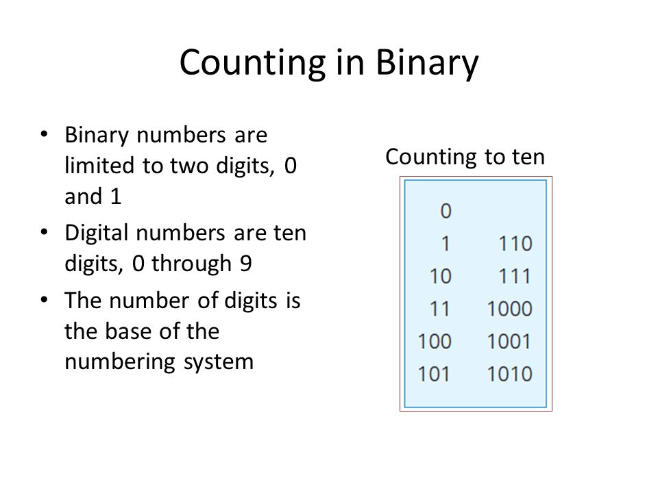 Counting in Binary Binary numbers are limited to two digits, 0 and 1 Digital numbers are ten digits, 0 through 9 The number of digits is the base of t