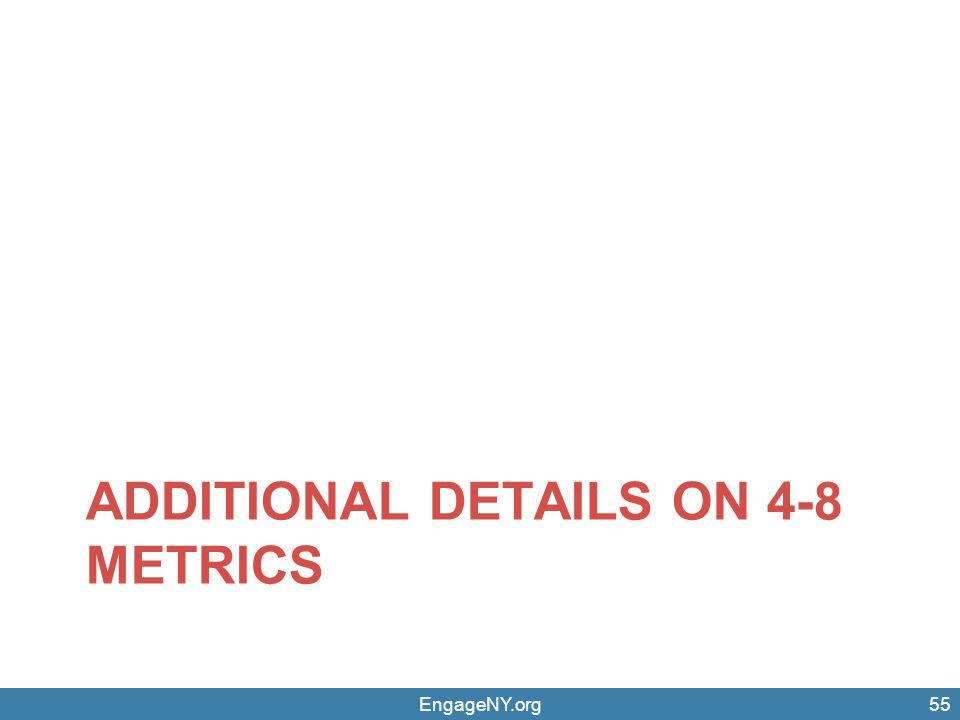 EngageNY.org55 ADDITIONAL DETAILS ON 4-8 METRICS