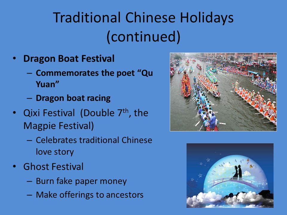 Traditional Chinese Holidays (continued) National Day (October 1 st ) Moon/Mid-Autumn Festival – Family feast – Praying – During the full moon Chongyang (Double 9 th ) – Based on yin and yang – Mountain climbing with family