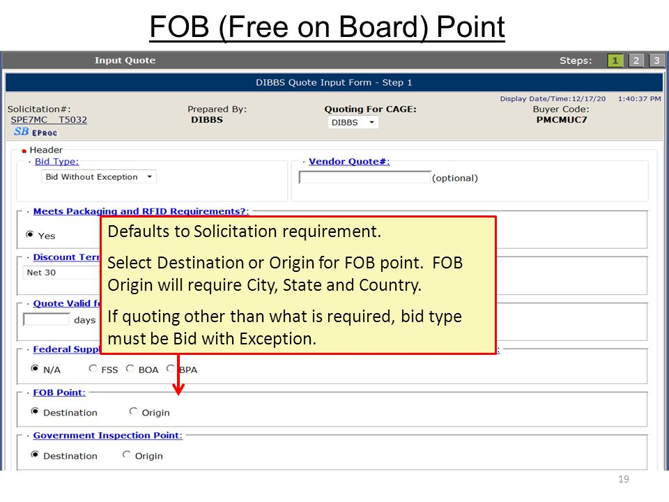 FOB (Free on Board) Point 19 Defaults to Solicitation requirement. Select Destination or Origin for FOB point. FOB Origin will require City, State and