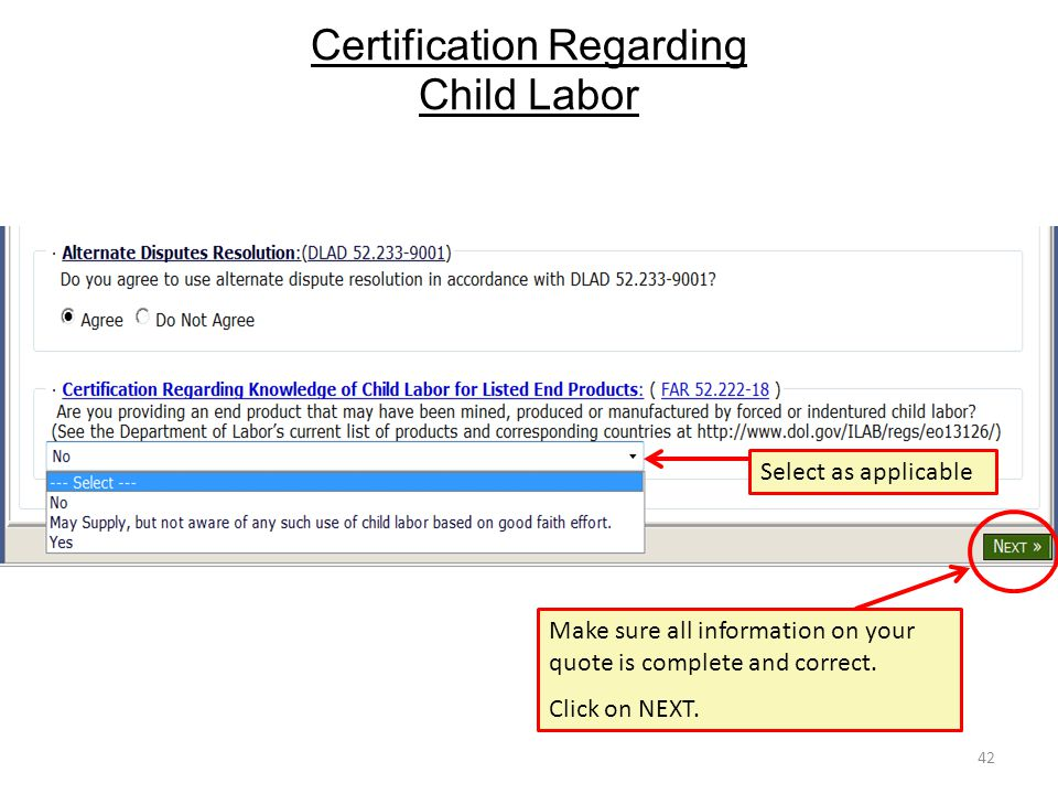 Certification Regarding Child Labor 42 Select as applicable Make sure all information on your quote is complete and correct. Click on NEXT.