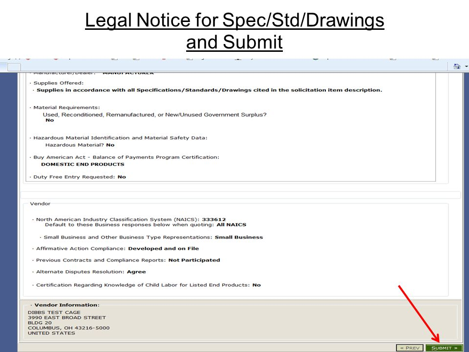 Legal Notice for Spec/Std/Drawings and Submit 45
