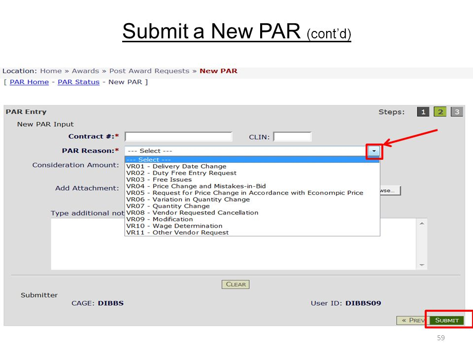 Submit a New PAR (cont'd) 59