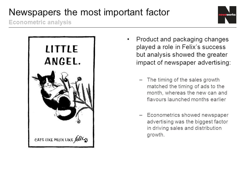 Higher sales revenues provided extra advertising budget to extend the campaign to more newspapers, TV and posters.