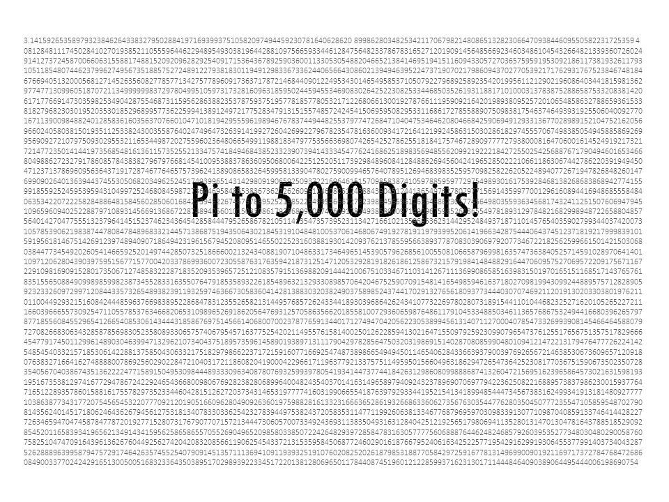 Pi to 5,000 Digits.