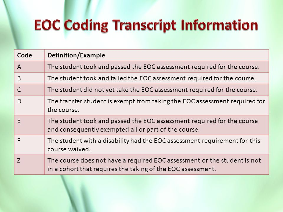 CodeDefinition/Example AThe student took and passed the EOC assessment required for the course.