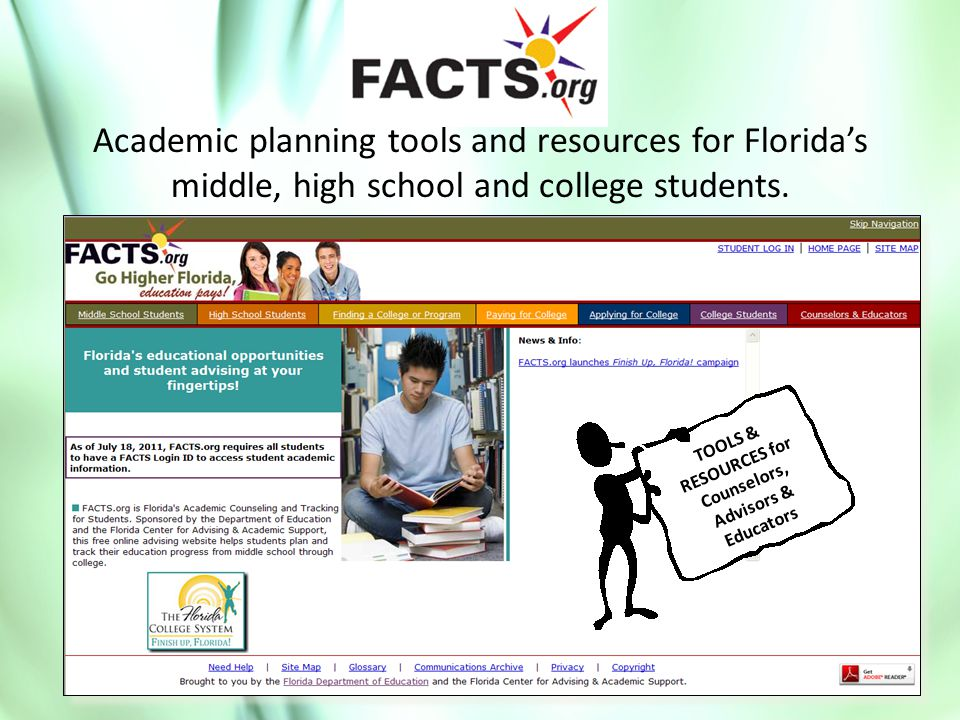 Academic planning tools and resources for Florida's middle, high school and college students.