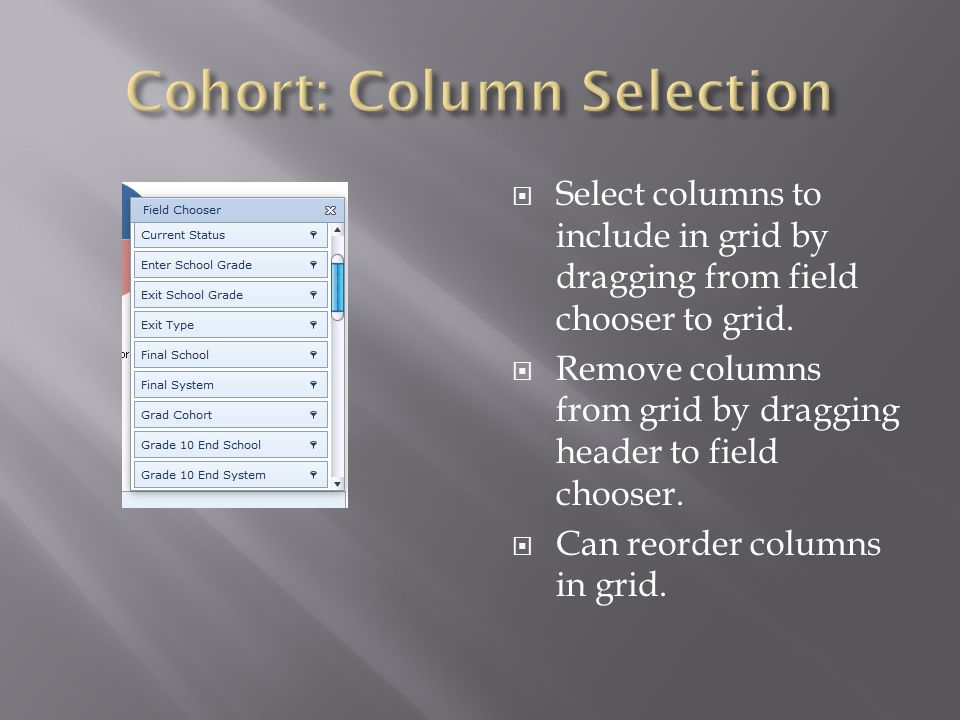 Select columns to include in grid by dragging from field chooser to grid.