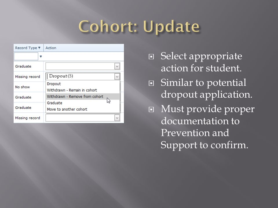  Select appropriate action for student.  Similar to potential dropout application.