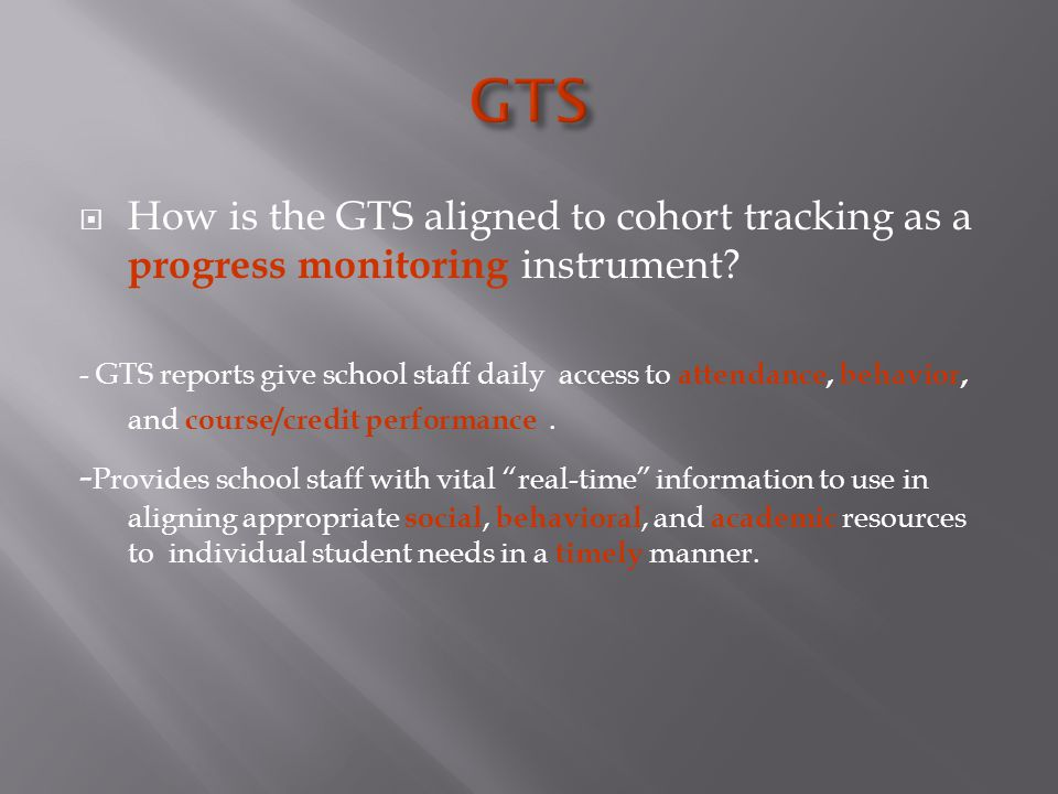  How is the GTS aligned to cohort tracking as a progress monitoring instrument.
