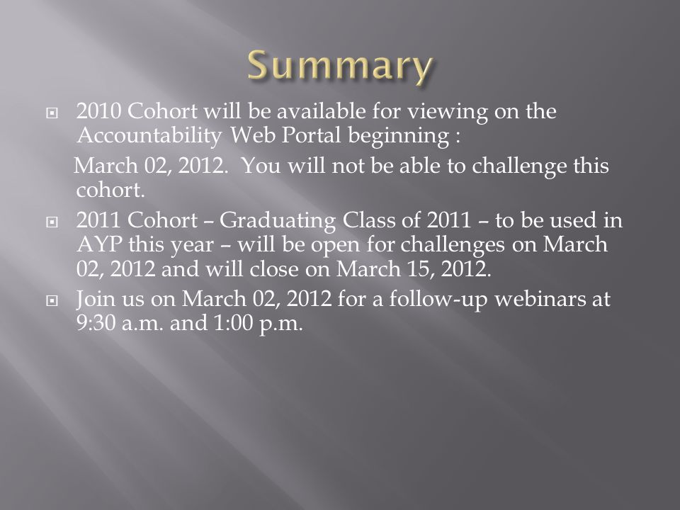  2010 Cohort will be available for viewing on the Accountability Web Portal beginning : March 02, 2012.