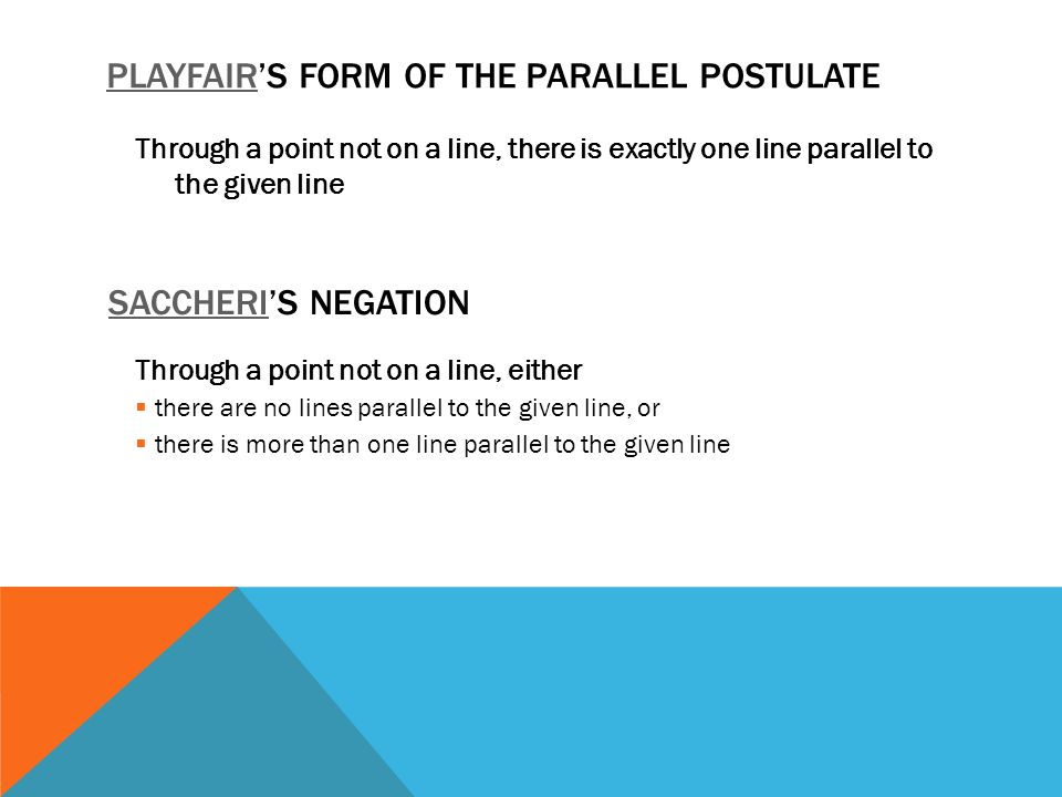 Through a point not on a line, there is exactly one line parallel to the given line PLAYFAIRPLAYFAIR'S FORM OF THE PARALLEL POSTULATE SACCHERISACCHERI'S NEGATION Through a point not on a line, either  there are no lines parallel to the given line, or  there is more than one line parallel to the given line