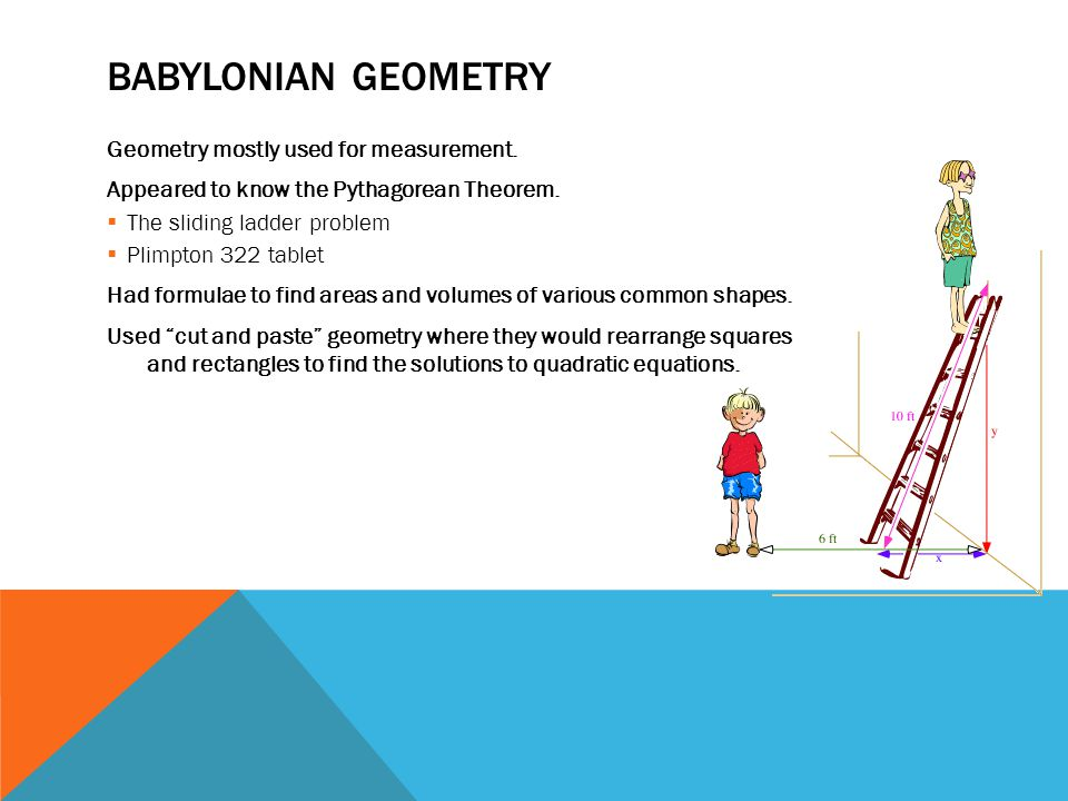 BABYLONIAN GEOMETRY Geometry mostly used for measurement.