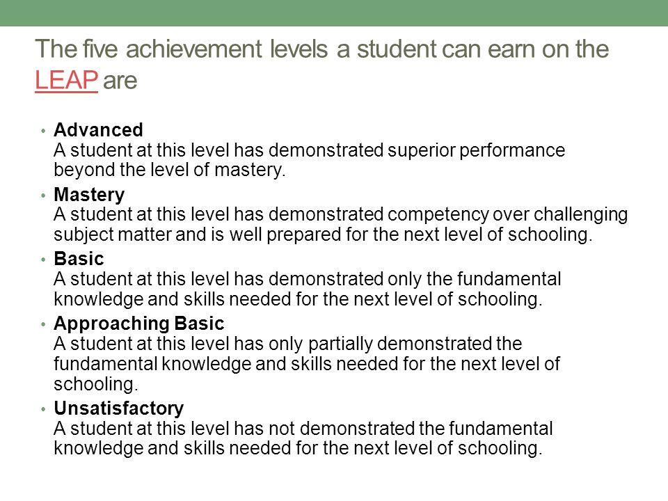 The five achievement levels a student can earn on the LEAP are LEAP Advanced A student at this level has demonstrated superior performance beyond the level of mastery.