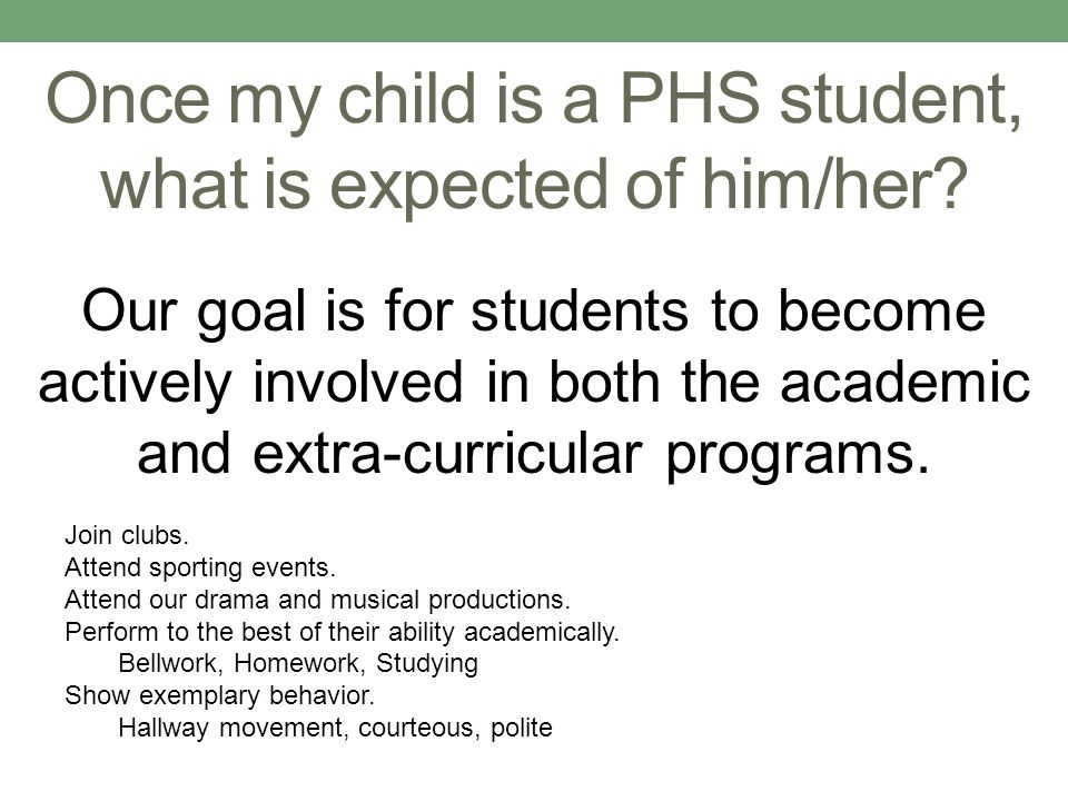 Once my child is a PHS student, what is expected of him/her.