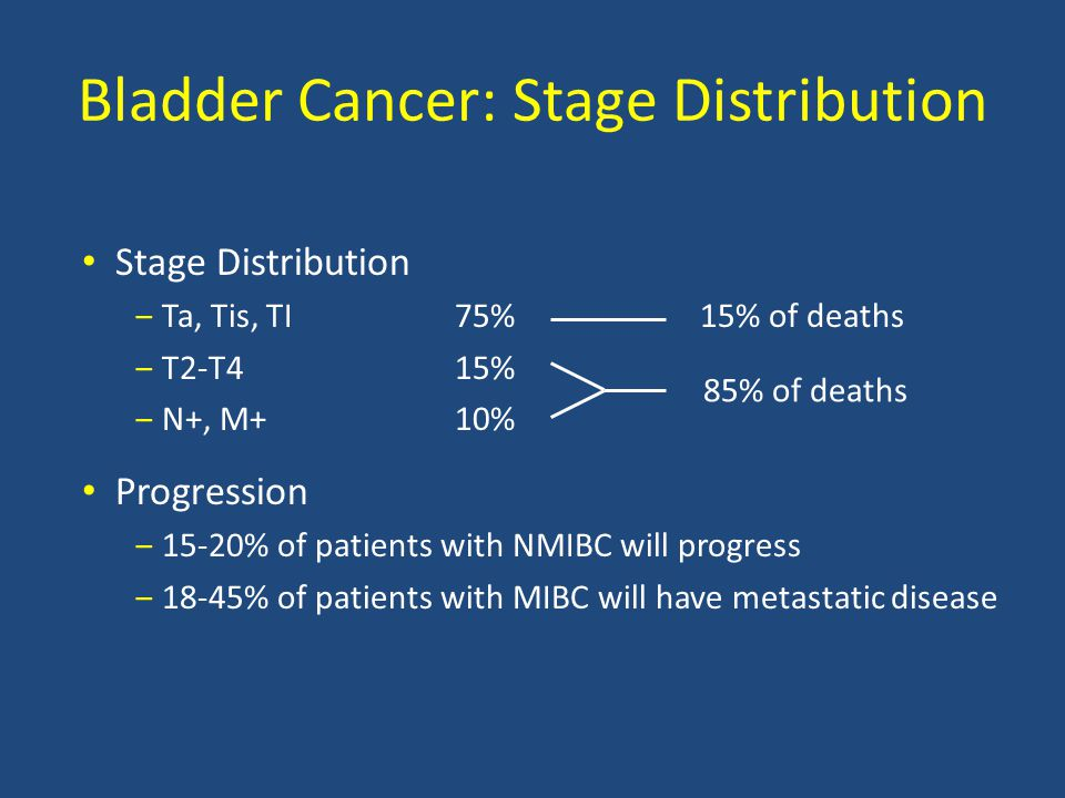 Bladder Cancer: Stage Distribution Stage Distribution ‒Ta, Tis, TI75% 15% of deaths ‒T2-T415% ‒N+, M+10% Progression ‒15-20% of patients with NMIBC will progress ‒18-45% of patients with MIBC will have metastatic disease 85% of deaths