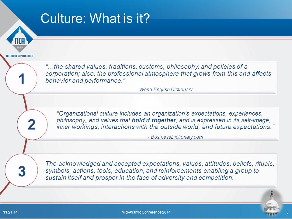 "Culture: What is it? ""…the shared values, traditions, customs, philosophy, and policies of a corporation; also, the professional atmosphere that grows"