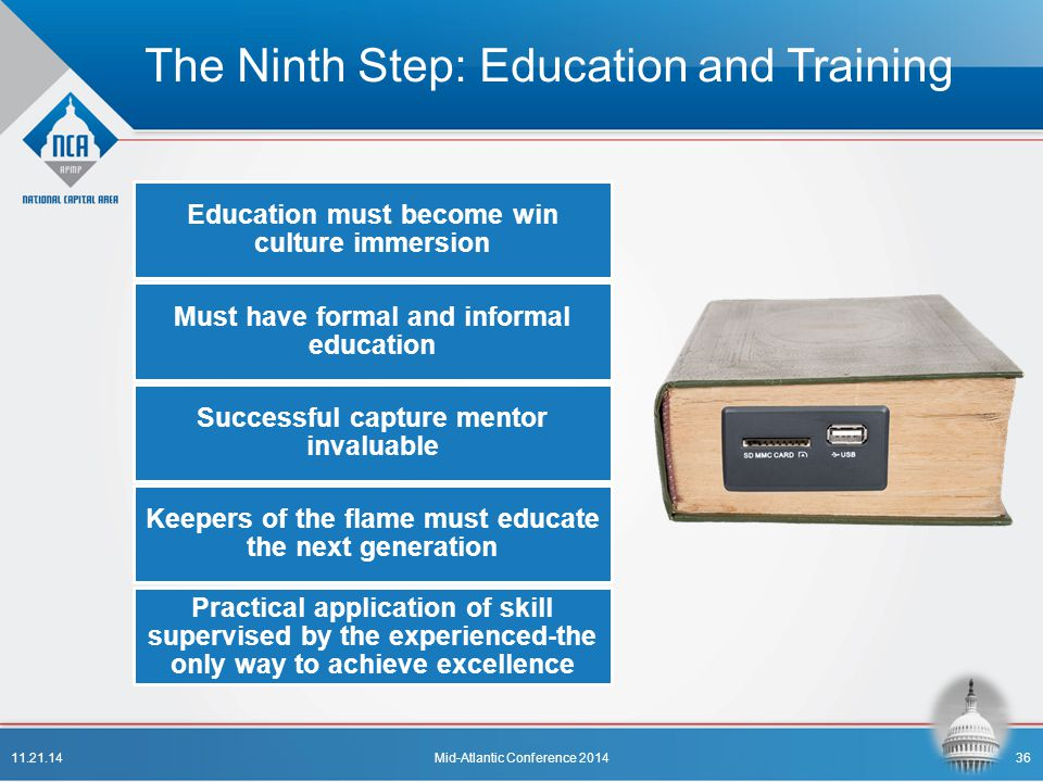 The Ninth Step: Education and Training Education must become win culture immersion Must have formal and informal education Successful capture mentor i