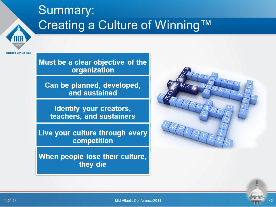 Summary: Creating a Culture of Winning™ Must be a clear objective of the organization Can be planned, developed, and sustained Identify your creators,