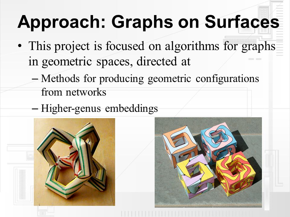 Approach: Graphs on Surfaces This project is focused on algorithms for graphs in geometric spaces, directed at – Methods for producing geometric configurations from networks – Higher-genus embeddings
