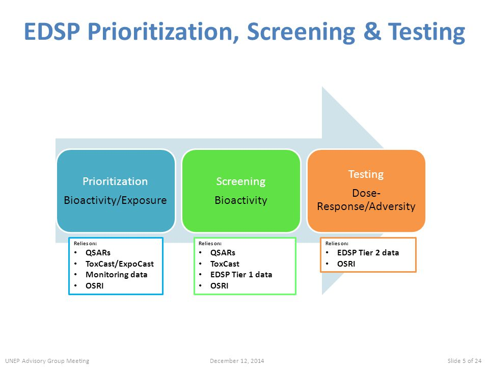 EDSP Prioritization, Screening & Testing Relies on: QSARs ToxCast/ExpoCast Monitoring data OSRI Relies on: QSARs ToxCast EDSP Tier 1 data OSRI Relies on: EDSP Tier 2 data OSRI UNEP Advisory Group MeetingDecember 12, 2014Slide 5 of 24