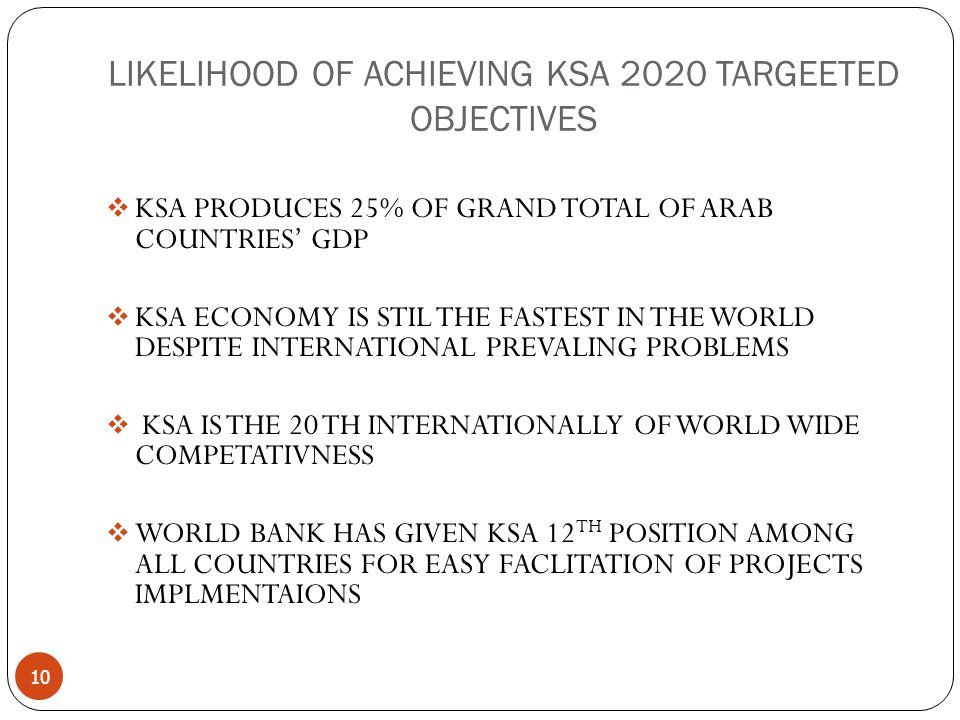 LIKELIHOOD OF ACHIEVING KSA 2020 TARGEETED OBJECTIVES 10  KSA PRODUCES 25% OF GRAND TOTAL OF ARAB COUNTRIES' GDP  KSA ECONOMY IS STIL THE FASTEST IN THE WORLD DESPITE INTERNATIONAL PREVALING PROBLEMS  KSA IS THE 20 TH INTERNATIONALLY OF WORLD WIDE COMPETATIVNESS  WORLD BANK HAS GIVEN KSA 12 TH POSITION AMONG ALL COUNTRIES FOR EASY FACLITATION OF PROJECTS IMPLMENTAIONS