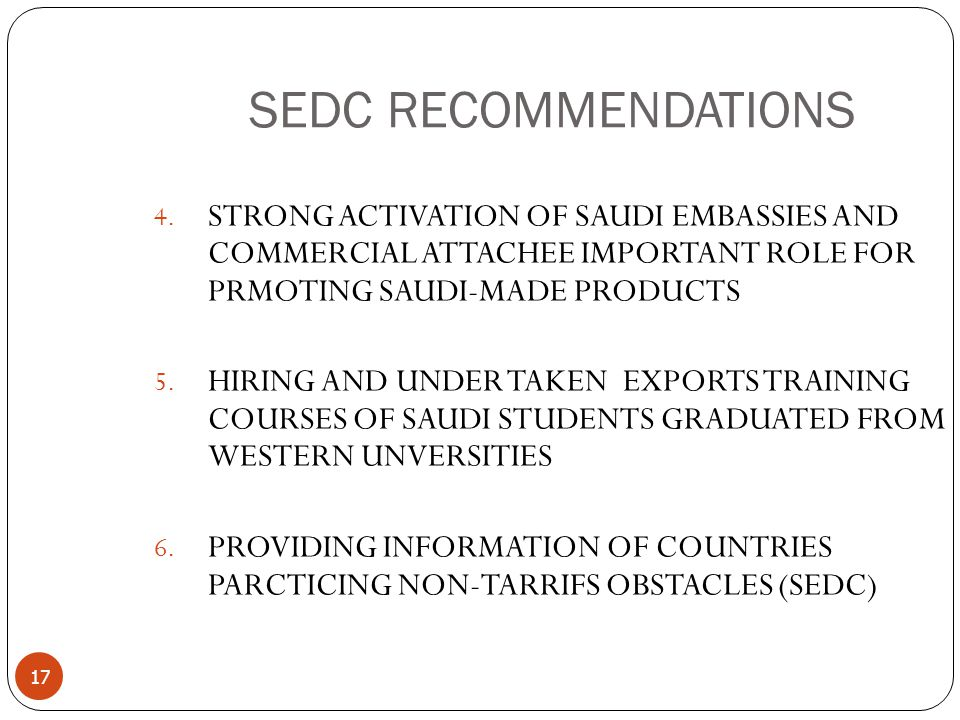 17 SEDC RECOMMENDATIONS 4.