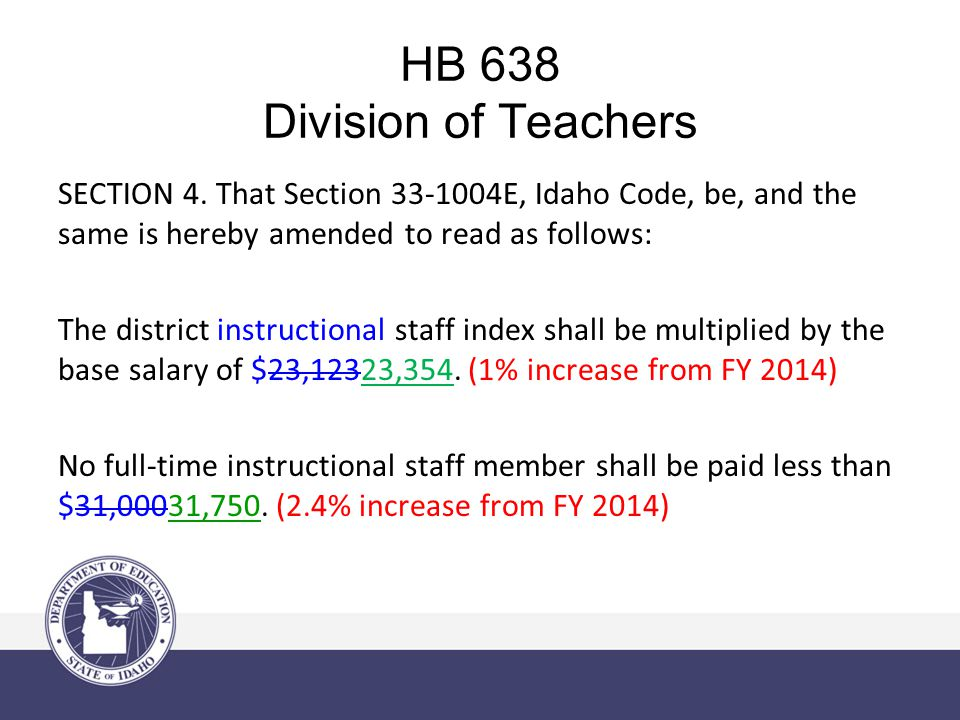 HB 638 Division of Teachers HB 504 – LEADERSHIP PREMIUMS SECTION 5.